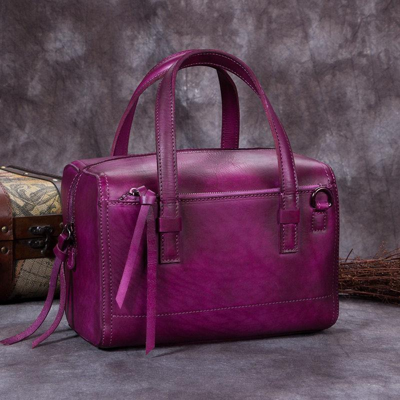 Purple Vintage Leather Ladies Doctors Handbag Brown Doctor Style Shoulder Bag Purse for Women