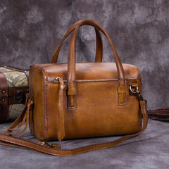 Vintage Brown Purple Leather Ladies Doctors Handbag Green Doctor Style Shoulder Bag Purse for Women