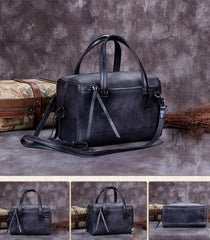 Gray Vintage Leather Ladies Doctors Handbag Brown Doctor Style Shoulder Bag Purse for Women