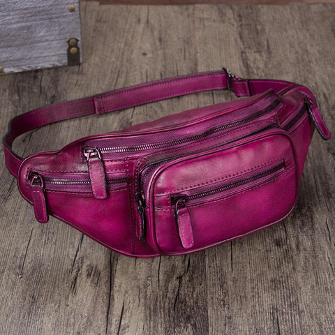 Purple Leather Womens Fanny Pack Hip Belt Bags Waist Bag Hip Bag Bum Bag for Women