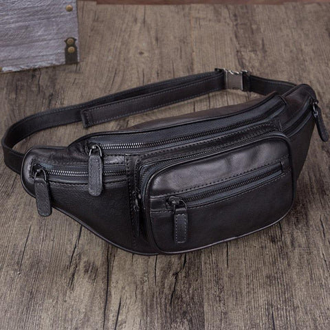 Vintage Black Leather Mens Fanny Pack Hip Belt Bags Waist Bag Hip Bag Bum Bag for WOmen