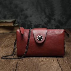 Black Leather Mini Chain Shoulder Bag Red Womens Leather Brown Clutch Chain Purse