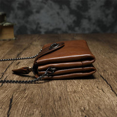 Brown Womens Small Leather Mini Chain shoulder Bag Vintage Cross body Bag Side Bag for Ladies
