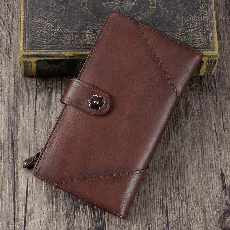 Vintage Leather Womens Coffee Long Clutch Wallet Brown Bifold Purse Long Wallet for Ladies