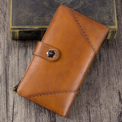 Vintage Leather Womens Purple Long Clutch Wallet Brown Bifold Purse Long Wallet for Ladies