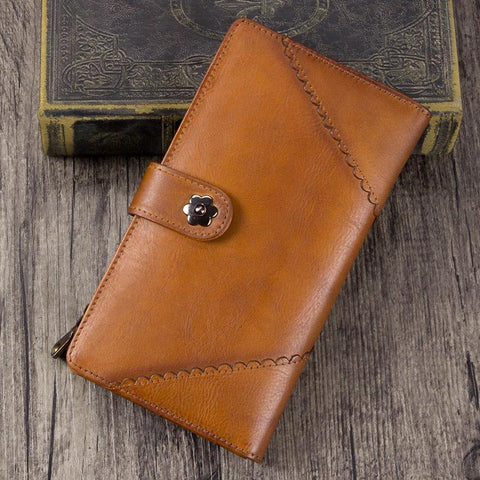 Brown Womens Vintage Leather Blue Bifold Long Wallet Womens Purple Clutch Wallet for Ladies