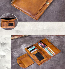 Cool Coffee Mens Leather Bifold Long Wallet Vintage Brown Long Multi Cards Wallet for Men