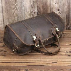 Vintage Leather Mens Dark Brown Large Weekender Bag Vintage Cool Travel Bag Duffle Bag for Men