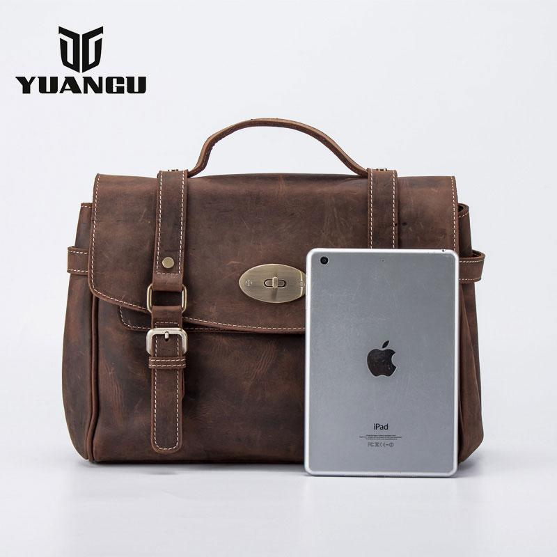 Vintage Leather Mens Handbag Briefcase Messenger Bag for men