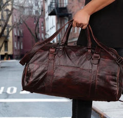 Vintage Leather Mens Large Weekender Bag Travel Bag Duffle Bags