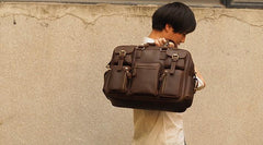 Vintage Leather Mens Travel Bag Cool Overnight Bag Work Handbag Business Bag for Men