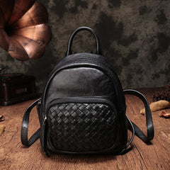Cute Leather Womens Backpacks Small Braided Leather Backpack Red Trendy Backpacks for Ladies