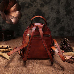 Brown Cute Leather Womens Backpacks Small Braided Leather Backpack Trendy Backpacks for Ladies