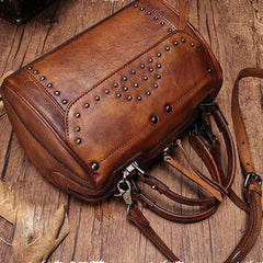 Vintage WOmens Leather Handbags Studded Work Bag Vintage Leather Shoulder Purses