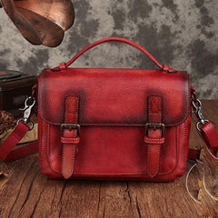Fashion Womens Brown Leather Satchel Handbag Small Red Satchel Bag Crossbody Bags for Ladies
