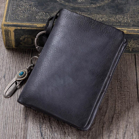Gray Mens SMall Leather Biker Chain Wallet billfold Wallet Small Bifold Wallet for Men