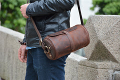 Vintage Leather Small Barrel Messenger Bag Shoulder Bag For Men