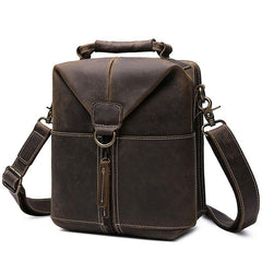Vintage Leather Small Messenger Bag for men Shoulder Bag for men