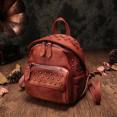 Cute Brown Leather Womens Backpacks Small Vintage Black Leather Backpack for Ladies
