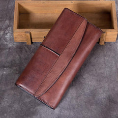 Vintage Women Brown Leather Blue Long Wallet Red Long Clutch Wallet For Ladies Purse