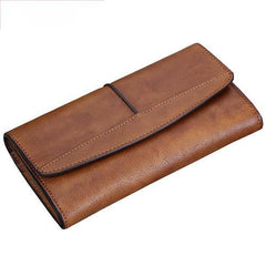 Red Vintage Womens Leather Trifold Brown Long Wallet Purse Green CLutch Phone Wallet for Ladies