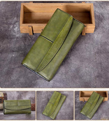 Blue Vintage Womens Leather Trifold Brown Long Wallet Purse Green CLutch Phone Wallet for Ladies