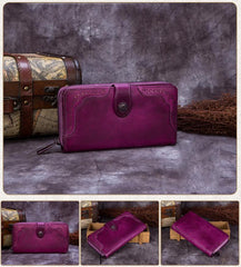 Green Vintage Ladies Leather Zipper Long Wallet Bifold Red Phone Clutch Purse for WOmen