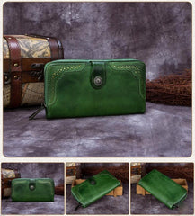 Red Vintage womens Leather Bifold Wallet Green Phone Wallet Brown Zipper Wallet for Ladies