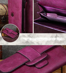 Purple Vintage Leather Wallet Womens Blue Long Wallet Womens Red Clutch Purse for Ladies