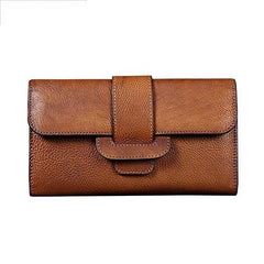 Brown Vintage Leather Wallet Womens Blue Long Wallet Womens Red Clutch Purse for Ladies