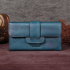 Vintage Gray Womens Leather Clutch Wallet Blue Long Wallet Bifold Wallet for Ladies