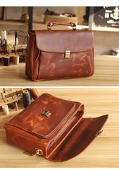 Vintage Light Brown Mens Leather Briefcase Work Handbags Brown 14'' Computer Briefcase For Men