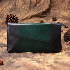 Green Vintage Leather Long Wallet Womens With Strap Red Folded Clutch Wallet Purse for Ladies