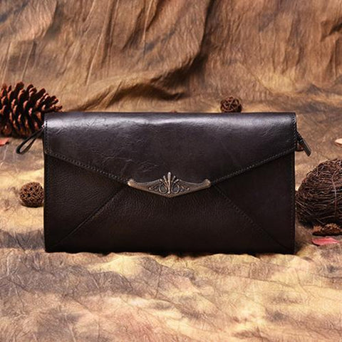 Vintage Black Leather Wallet Womens Clutch Wallet With Strap Purse Green Shoulder Bag