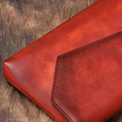 Brown Vintage Leather Long Wallet Womens With Strap Red Folded Clutch Wallet Purse for Ladies