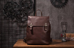 Vintage Mens Coffee Leather Backpack Travel Backpack Leather Hiking Backpack for Men