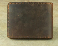 Vintage Mens Leather Slim Bifold Small Wallet Cool billfold Slim Small Wallet for Men