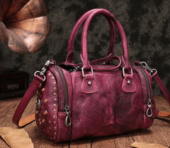Vintage Purple Leather Womens Boston Handbag Shoulder Boston Purse For Women