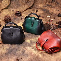 Black Vintage Ladies Leather Small Doctor Handbag Purse Green Small Doctors Shoulder Bag Purse for Women