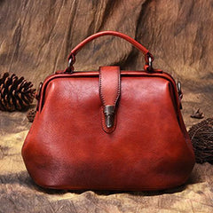 Green Vintage Ladies Leather Small Doctor Handbag Purse Red Small Doctors Shoulder Bag Purse for Women