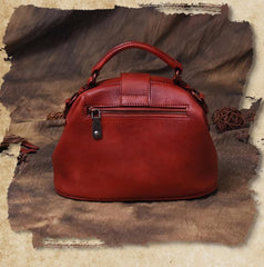Vintage Womens Leather Brown Handbag Doctors Bag Female Red Doctor Bags Purses for Ladies