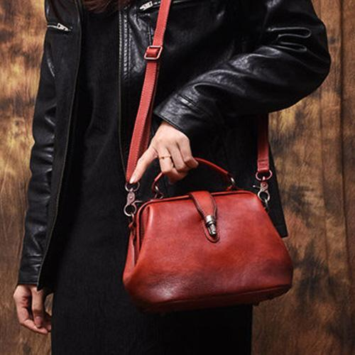 Red Vintage Ladies Leather Small Doctor Handbag Purse Green Small Doctors Shoulder Bag Purse for Women