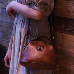 Gray Small Womens Vintage Leather Doctor Handbag Small Brown Doctor Purse Shoulder Bag for Ladies