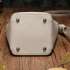 Brown Leather Bucket Shoulder Bag Bucket Handbag White Cross Body Barrel Bag for Ladies