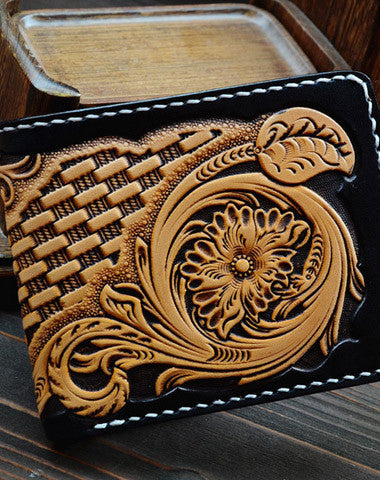 Handmade vintage black yellow leather floral short wallet purse tooled for men