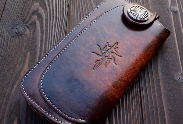 Handmade vintage dark brown leather biker wallet bifold long wallet purse clutch for men