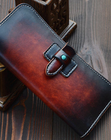 Handmade vintage dark brown leather long wallet purse clutch for men