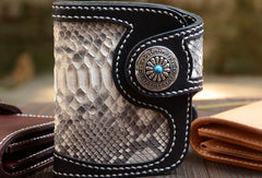 Handmade Leather Small Biker Chain Wallets Short Biker Wallets for Men Chain Wallet