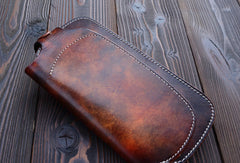 Handmade dark brown vintage leather biker wallet  bifold long wallet purse clutch for men