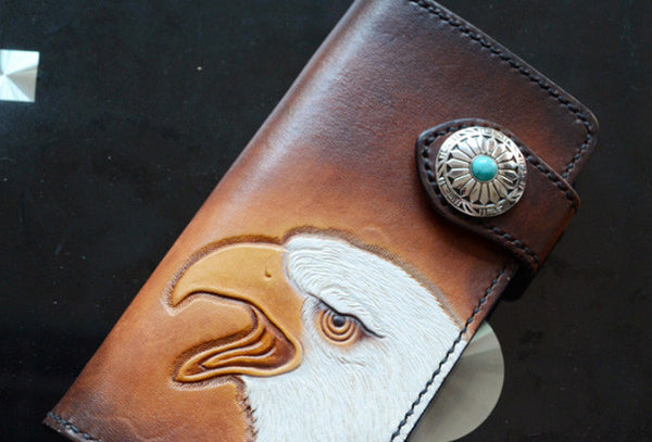 Handmade dark brown black eagle carved leather biker wallet bifold  phone long wallet purse clutch for men